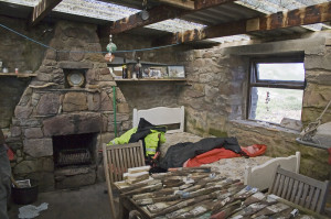 Inside the hut on Burhou