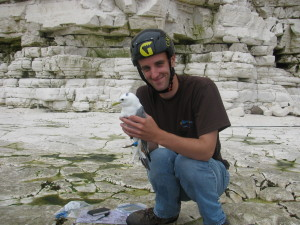 Tim with a Kittiwake during a tagging study