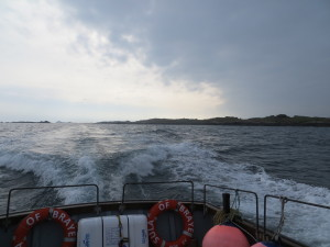 Leaving Burhou on Sula of Braye