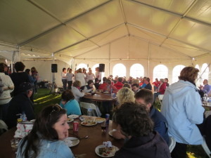 The food marquee full of happy visitors