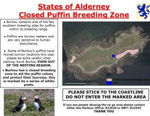 Puffin closure sign, these are placed around Burhou