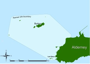 The Ramsar site is located to the north and west of Alderney, covering Burhou, Les Etacs and Ortac