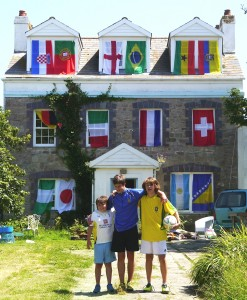 Joe and his brothers outside their home for the World Cup - another keen interest of Joe along with wildlife