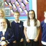 Some of the pupils with their visitor