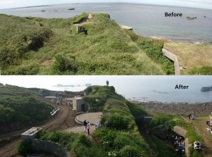 A before and after picture of the work done on the Cambridge Battery