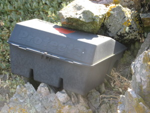 Bait boxes are used to control the rat population in areas around Alderney